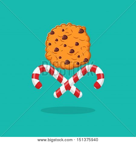 Peppermint Christmas Candy And Cookies Emblem For New Year. Sweet Doodle. Mint Stick Lollipop And Co
