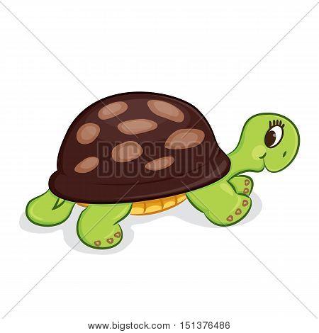 Cute cartoon turtle baby toy. Vector illustration