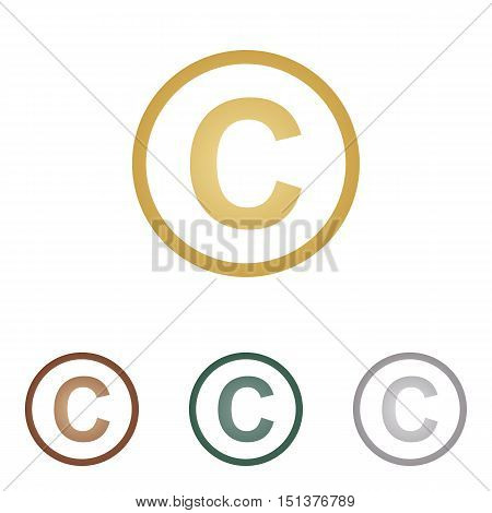 Copyright Sign Illustration. Metal Icons On White Backgound.