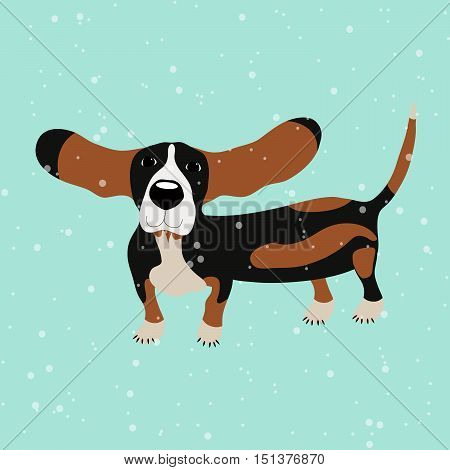 Dog Basset hound under falling snow on the blue background, vector illustration, cute dog