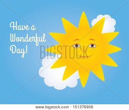 Vector cartoon illustration of a smiling sun and white clouds in a blue sky. Greeting text
