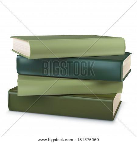 Stack of multi green book . vector illustration