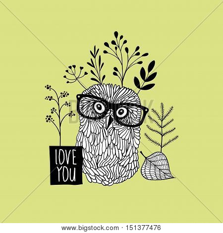 Herbal print with romantic owl in glasses. Vector doodle print.