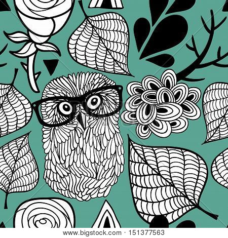 Seamless pattern with cute owls. Vector illustration.
