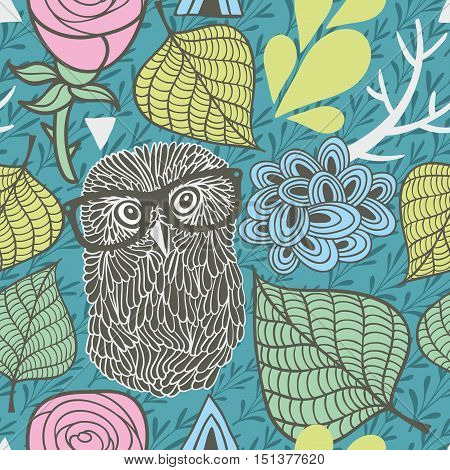 Seamless pattern with spring flora and romantic owls in eyeglasses. Vector endless background.