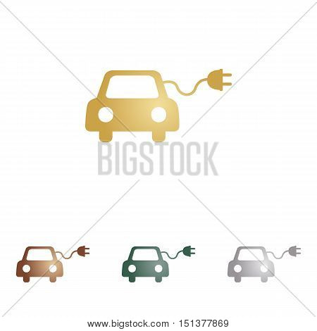 Eco Electric Car Sign. Metal Icons On White Backgound.