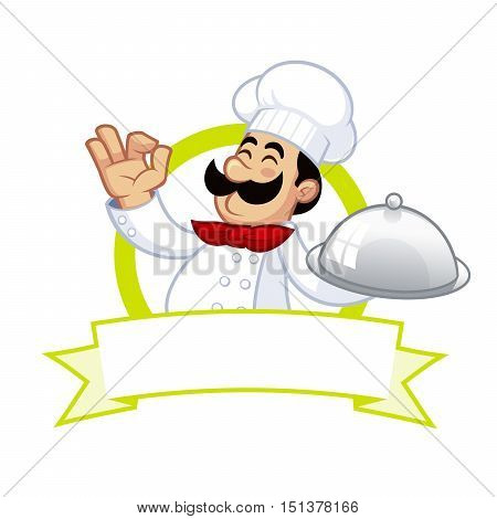 Nice illustration of a cook, he carries a tray