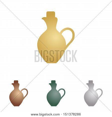 Amphora Sign Illustration. Metal Icons On White Backgound.