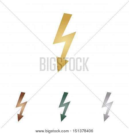 High Voltage Danger Sign. Metal Icons On White Backgound.