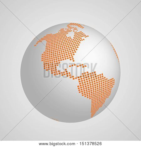 Vector planet Earth globe with orange squared map of continent America. 3D ilustration with shadow and gradient background.