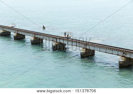 Bridge for train Rameswaram India Tamil Nadu sea