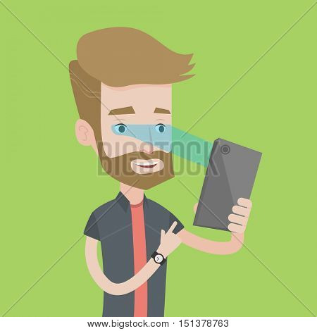 A hipster caucasian man with the beard using smart mobile phone with retina scanner. Young happy man using iris scanner to unlock his mobile phone. Vector flat design illustration. Square layout.