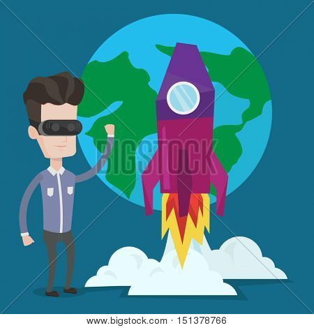 Happy smiling man in virtual reality headset flying in open space. Young caucasian man wearing futuristic virtual reality glasses and playing videogame. Vector flat design illustration. Square layout.