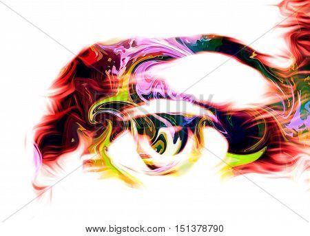 eye graphic desigh, computer collage on white background