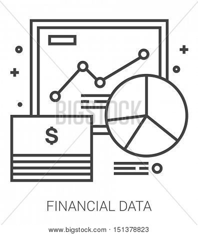Financial data infographic metaphor with line icons. Project financial data concept for website and infographics. Vector line art icon isolated on white background.