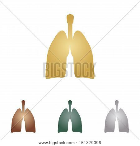 Human Organs Lungs Sign. Metal Icons On White Backgound.