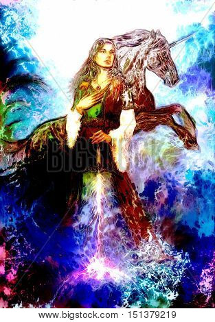 heroic woman in medieval dress with sword and unicorn, computer graphic
