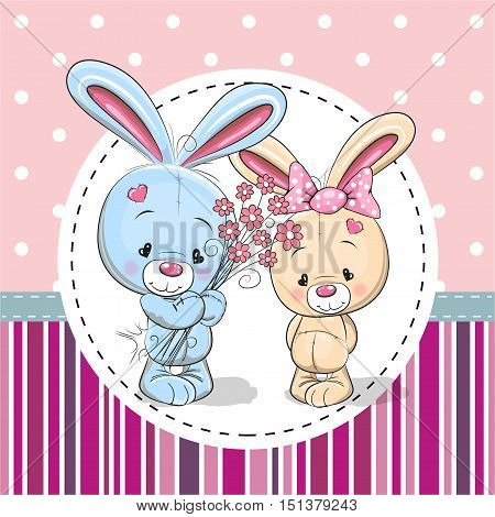 Greeting card with two Rabbits in a frame