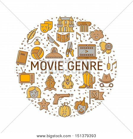 Vector set of movie genres line icons made in circle isolated on white background. Different film genre elements perfect for infographic or mobile app