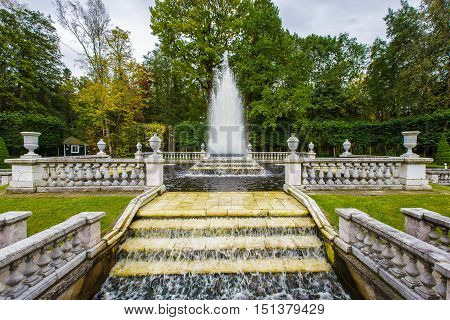 antique fountains in Peterhof September 14 2016 St. Petersburg Russia