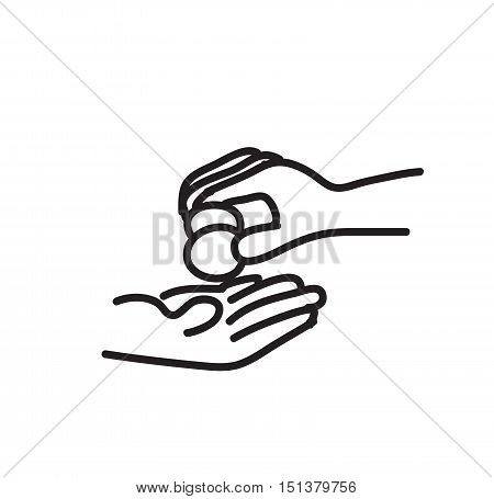 Charity Concept Doodle, a hand drawn vector illustration of a hand giving money.