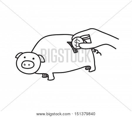 Piggy Bank Doodle, a hand drawn vector illustration of a piggy bank.