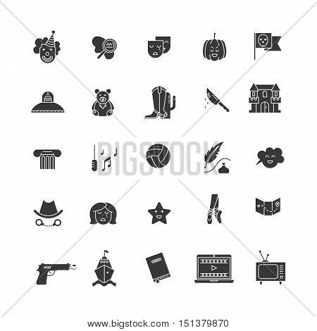 Vector set of movie genres pictogram isolated on white background. Different film genre elements perfect for infographic or mobile app
