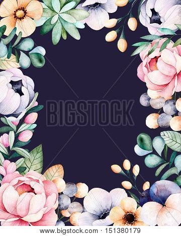 Beautiful watercolor frame border with roses,flowers,leaves,succulent plant,branches,eucalyptus leaves,pansy flower