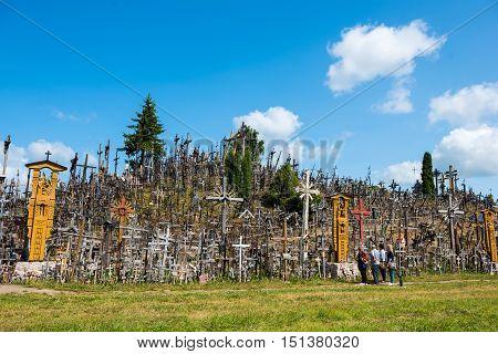 Siauliai, Lithuania - Jul 12, 2015: The Hill Of Crosses (kryziu Kalnas) In Siauliai, Lithuania, Euro