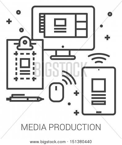 Media production infographic metaphor with line icons. Media production concept for website and infographics. Vector line art icon isolated on white background.