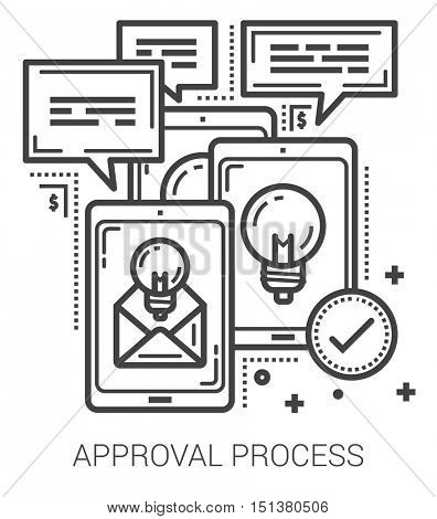 Approval process infographic metaphor with line icons. project approval process concept for website and infographics. Vector line art icon isolated on white background.