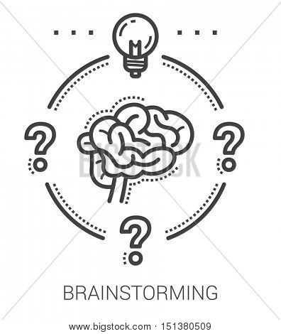 Brainstorming infographic metaphor with line icons. Project brainstorming concept for website and infographics. Vector line art icon isolated on white background.