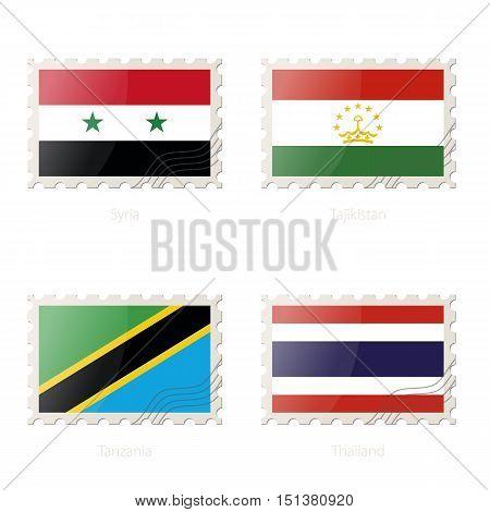 Postage Stamp With The Image Of Syria, Tajikistan, Tanzania, Thailand Flag.