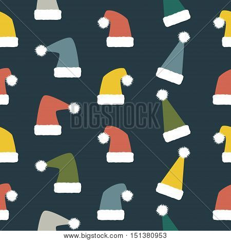 Seamless Christmas and New Year pattern of droll Santa hats. Variegated festive winter background. Vector illustration for various creative projects