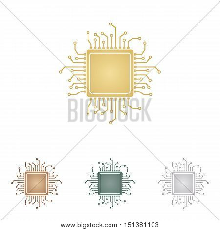Cpu Microprocessor Illustration. Metal Icons On White Backgound.