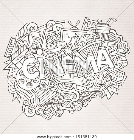 Cartoon cute doodles hand drawn Cinema inscription. Sketchy illustration with movie theme items. Line art detailed, with lots of objects background. Funny vector artwork
