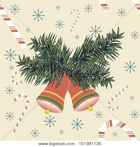 Christmas bells with candy canes and snowflakes. Seamless vector illustration for celebratory design