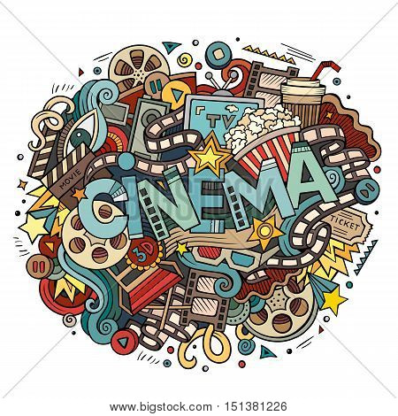 Cartoon cute doodles hand drawn Cinema inscription. Colorful illustration with movie theme items. Line art detailed, with lots of objects background. Funny vector artwork