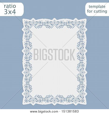 Laser cut wedding invitation blue card template with openwork border. Cut out the paper card with lace pattern. Greeting card template for cutting plotter. Vector.
