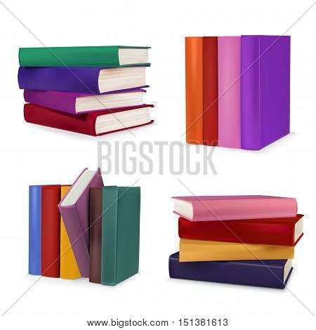 Book collection isolated on a white background.