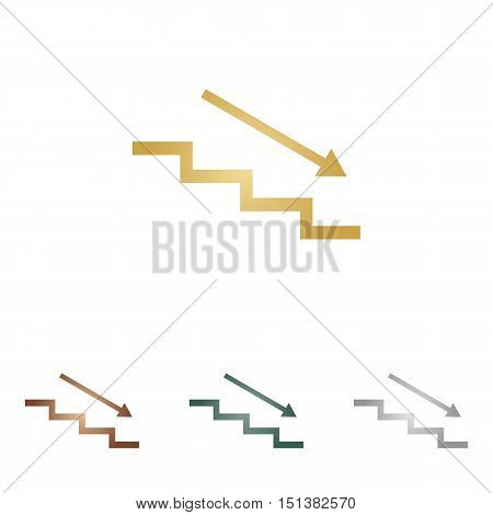 Stair Down With Arrow. Metal Icons On White Backgound.