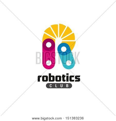 Letter R logo. Robotics club concept. Construction links with flexible joint.