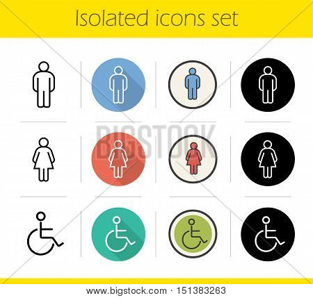 WC door icons set. Flat design, linear, black and color styles. Man, woman and invalid toilet signs. Disabled wheelchair symbols. Isolated vector illustrations