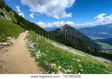 Path through summer mountain landscape in Austrian Alps Tirol near Achensee.