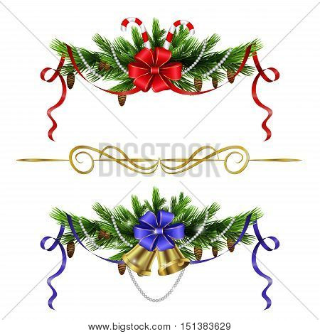 Christmas decoration with evergreen trees bells and with candy canes isolated
