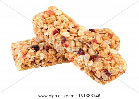 Granola bars isolated on white. Granola ingredients oats dried cranberries nuts sunflower seeds honey.