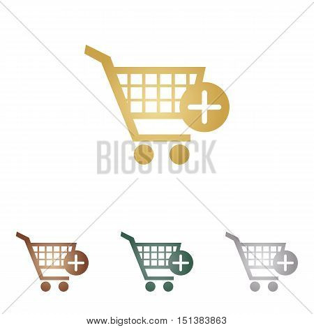 Shopping Cart With Add Mark Sign. Metal Icons On White Backgound.