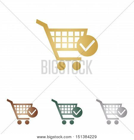 Shopping Cart With Check Mark Sign. Metal Icons On White Backgound.