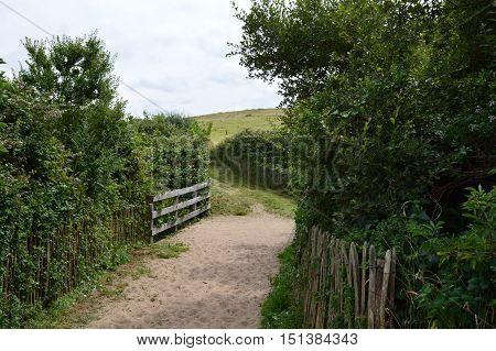 Trail along a beach  at Nord Pas De Calais