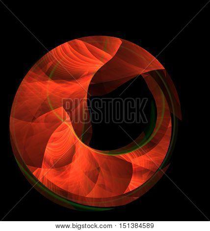 Abstract Fractal Bright Orange Moon On Black